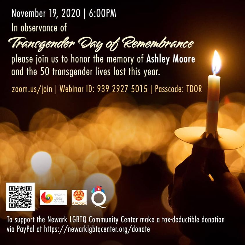 "black background with a white lit candle and glowing halos of flame in the distance. Text reads: ""In observance of Transgender Day of Remembrance, please join us to honor the memory of Ashley Moore and the 50 transgender lives lost this year."